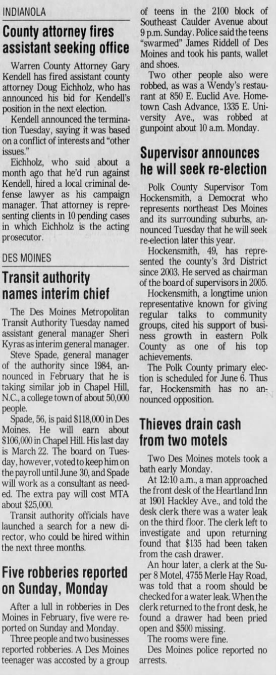 The Des Moinse Register Page 2B Wed March 1 2006 -
