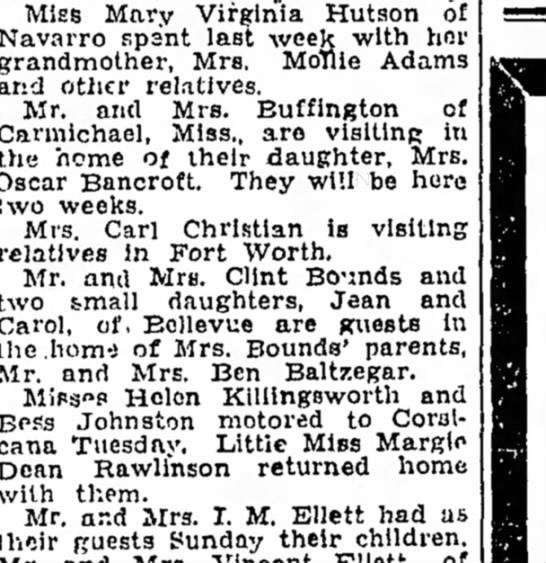 Buffington TR Minnie visit Gladys & Oscar Bancroft 1931 -