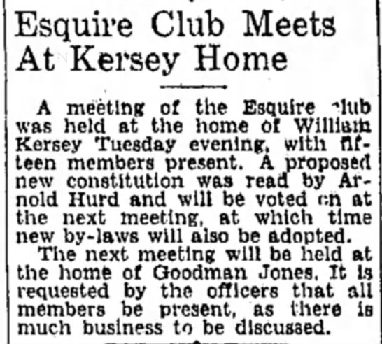 - Esquire Club Meets At Kersey Home A meeting of...