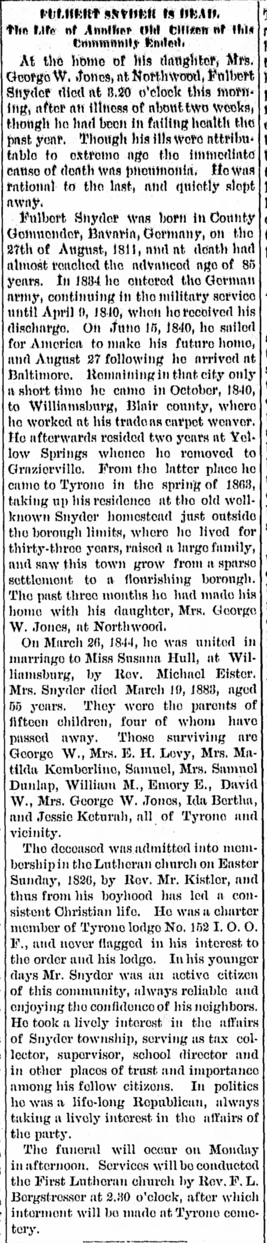 Obituary of Fulbert Snyder b. 27 aug 1811 d. 25 Aug 1896 -