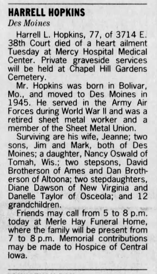 Harrell Hopkins - Obituary 1998 -