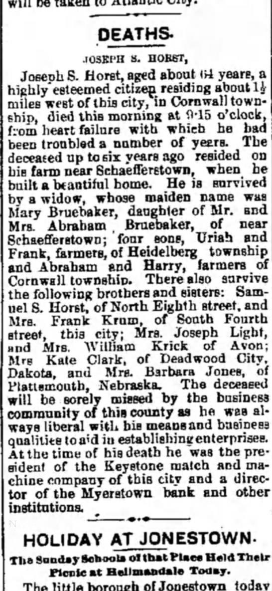 Mary Brubaker widow, daughter if Mr and Mrs Abraham Bruebaker -