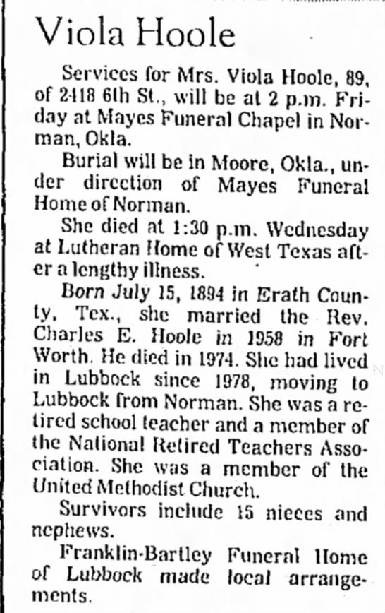 Viola D Tucker Hoole Obit - Lubbock Evening Journal (Lubbock, Texas) p 29, Jan 12, 1984 -