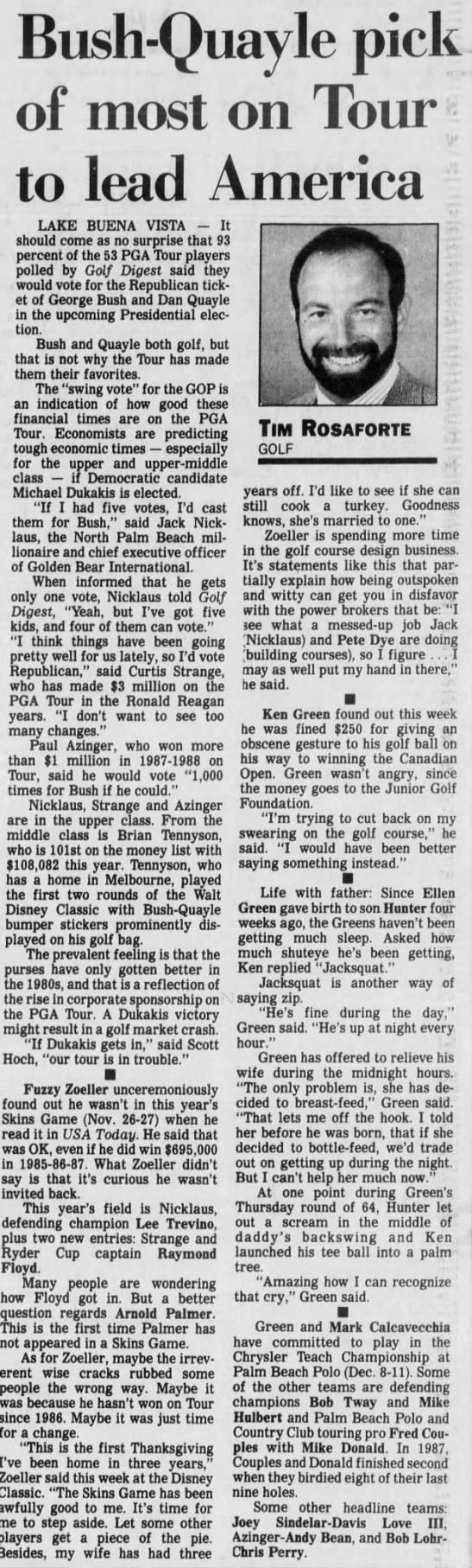 Sunday October 30, 1988 The Palm Beach Post - Bush-Quayle pick of most on Tour to lead...