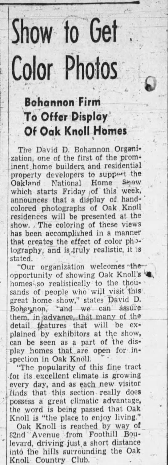Show to get Color Photos - Oakland Tribune October 29, 1927 -