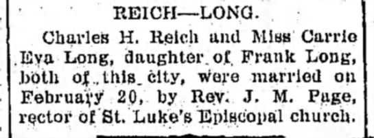 Charles Reich & Carrie Long wedding announcement 21 Feb 1907, page 3, LDN -