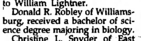Donald R. Robley-Bach. of Science degree-Tyrone Daily Herald-p.3-23 June 1995 -