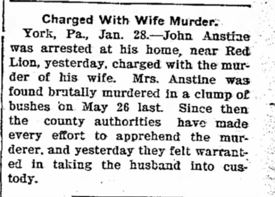 John Anstine charged with wife's murder-Jan 1903 -