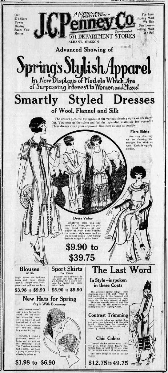 JC Penney Women's clothing ad (Oregon, 1925) -