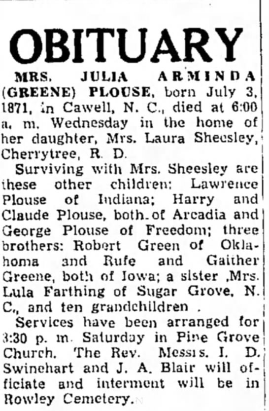 Julia a Greene - OBITUARY MRS. JULIA ARMINDA (GKEENE) PLOUSE,...