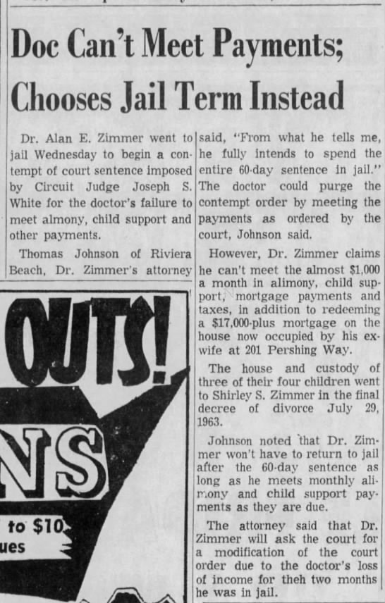 Dr. Alan E. Zimmer, April 1964, In jail for not paying child support -