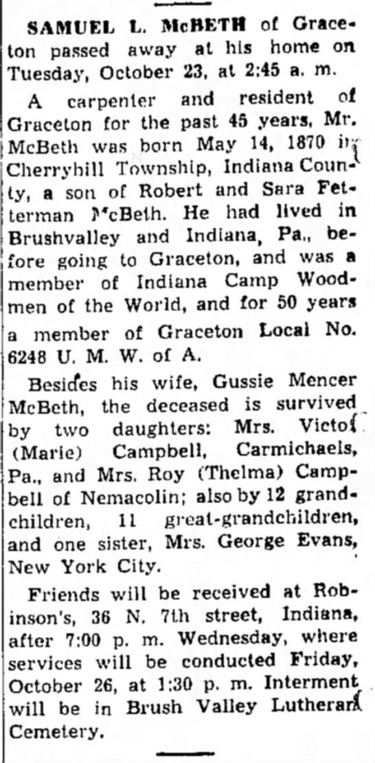 Indiana Gazette, 23 Oct 1951 Page 2 - SAMUEL L. McBETH of Graceton passed away at his...