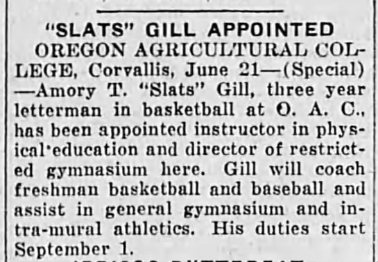 """Amory """"Slats"""" Gill Appointed Physical Education Instructor at OAC (Oregon State University) -"""
