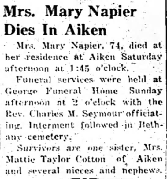 Mary Napier Obituary 1946 -