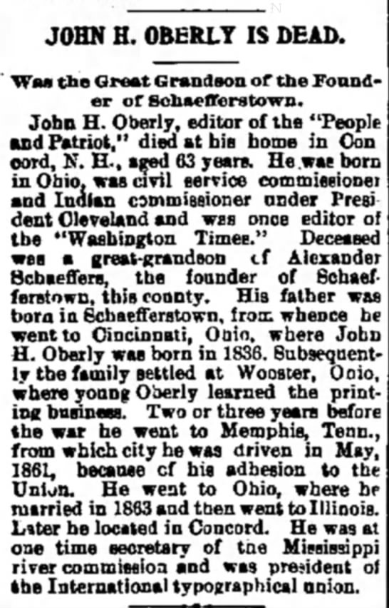 John H. Oberly - JOHN H. OBERLY IS DEAD. Waa the Great Grandson...