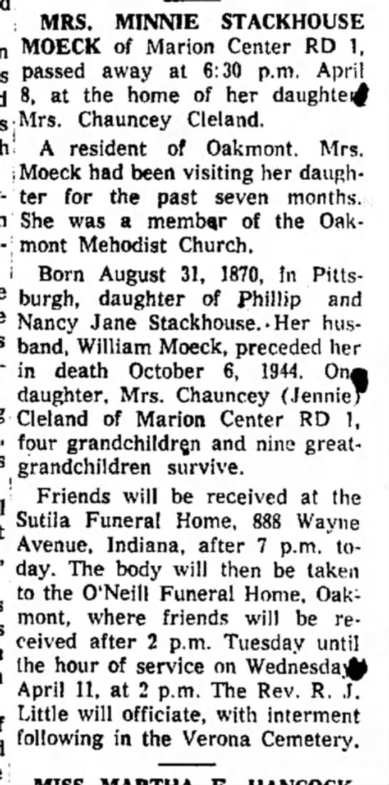 Jennie Moeck Cleland's Mother - MINNIE STACKHOUSE MOECK of Marion Center RD 1,...