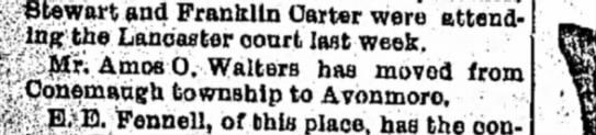 Amos O Walters moves 26 Oct 1898 -