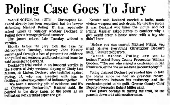 Poling Case Goes To Jury - Logansport Pharos-Tribune, 29 February 1984, pg 8 -