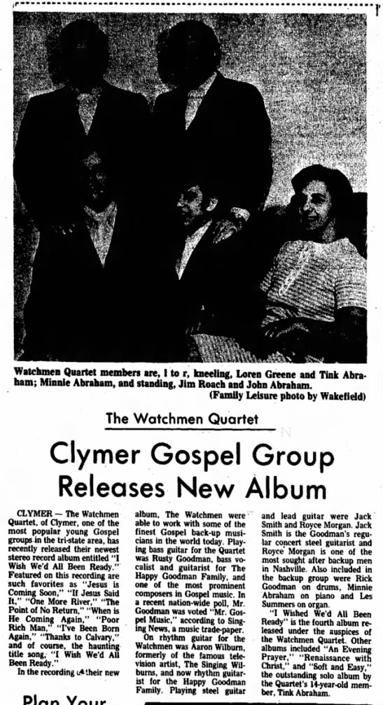 Wish We'd All 2 Feb 5 1972 - T Watchmen Quartet members are, 1 to r,...