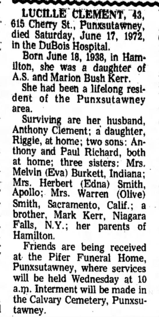 Kerr, Lucille The Indiana Gazette Indiana Penn June 19 1972 pg 27 -