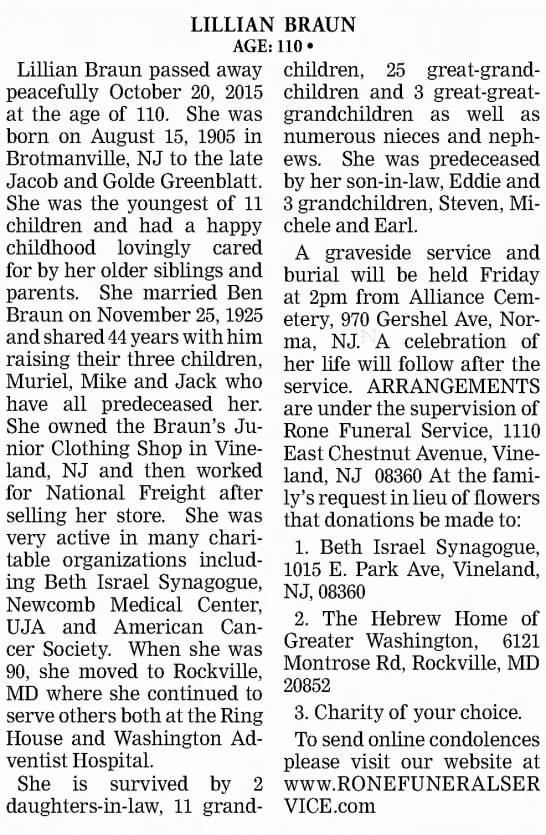 Aunt Lil Obituary -