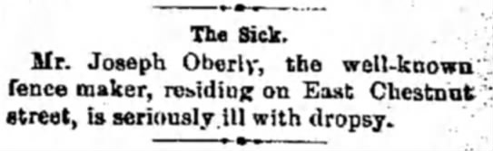 """- The Sick. Mr. Joseph Oberly, the well-known""""..."""