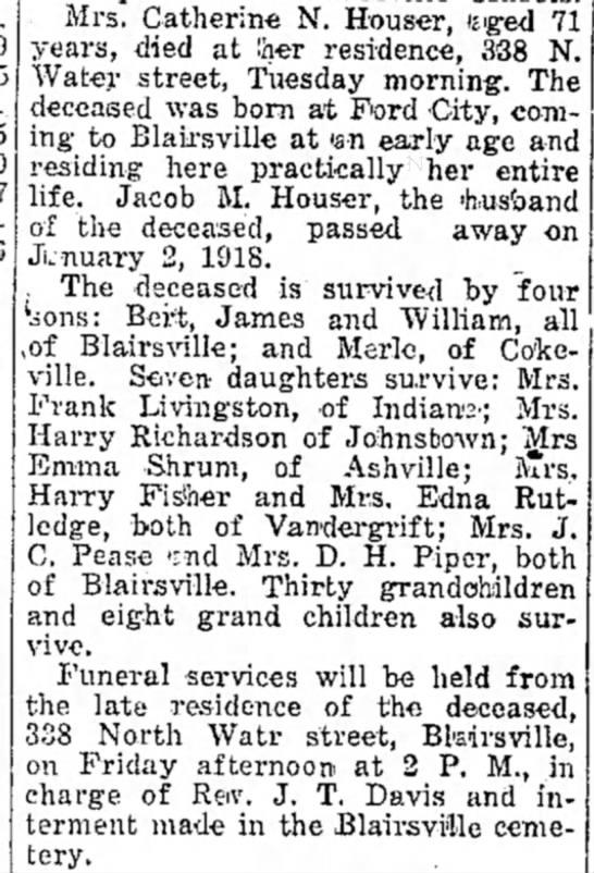 Obituary - Houser, Catherine N -