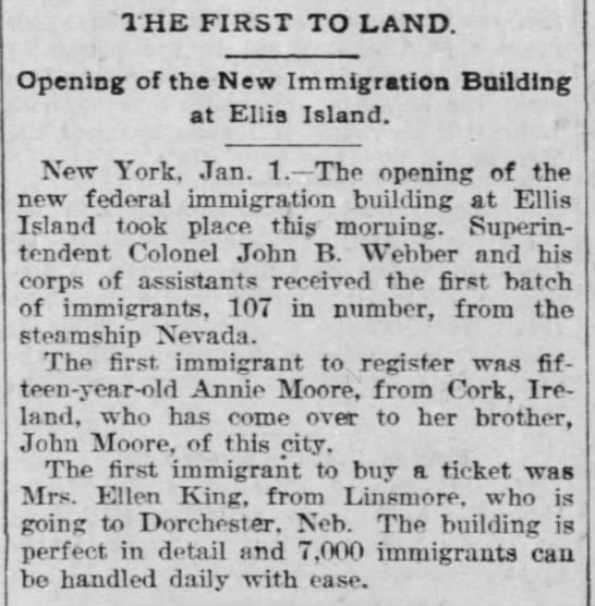 Newspaper article about the first group of 107 immigrants to arrive at Ellis Island -