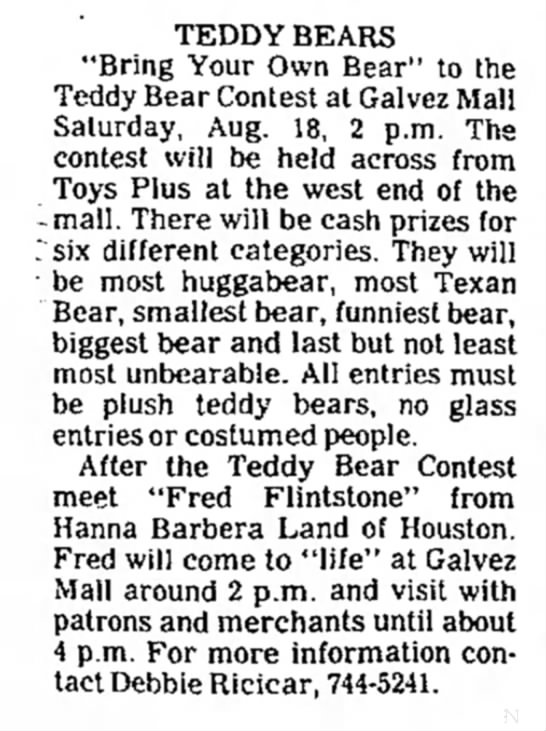 "Galvez Mall Article - TEDDY BEARS ""Bring Your Own Bear"" to the Teddy..."