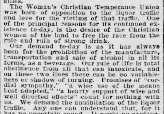 Woman's Christian Temperance Union supports prohibition, 1897 -