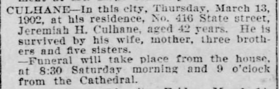 Jeremiah H Culhane Death Notice 1902 -