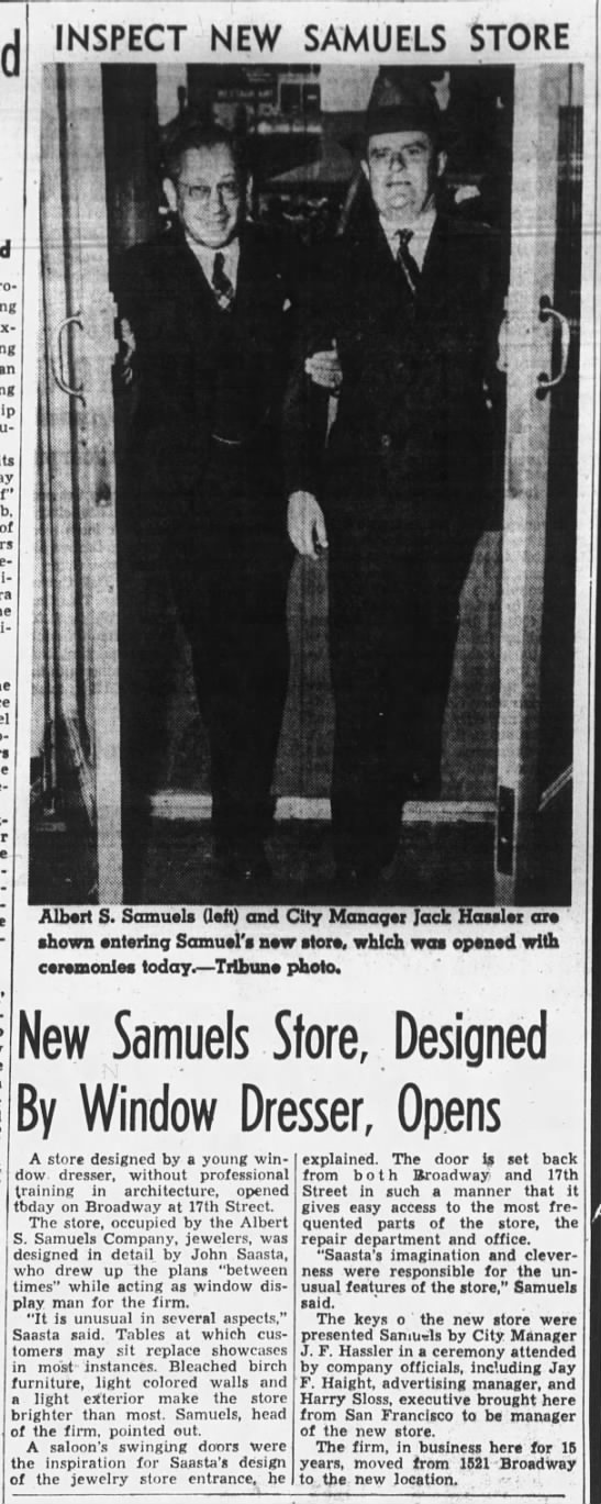 new store for Albert S. Samuels at 17th and Broadway -