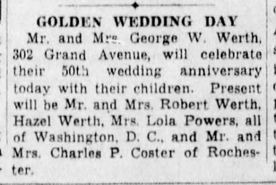 George Washington Werth Sarah Ann Kemp Werth 50th Wedding Anniversary 24 Jun 1936 Newspapers Com