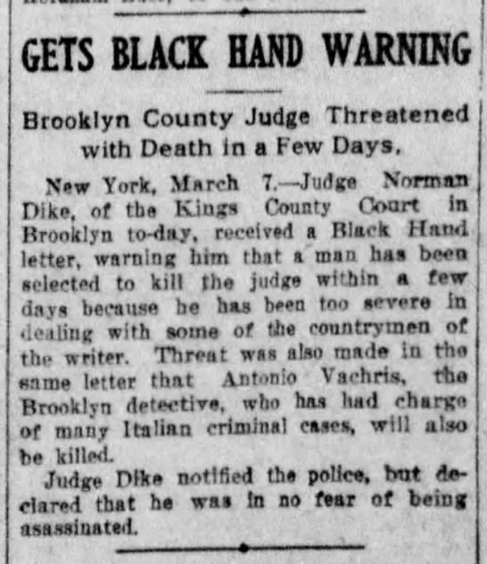 Gets Black Hand Warning, Democrat and Chronicle (Rochester, New York) March 8, 1908, page 1 -