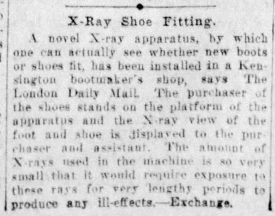X-ray shoe fitting, London (1921) -