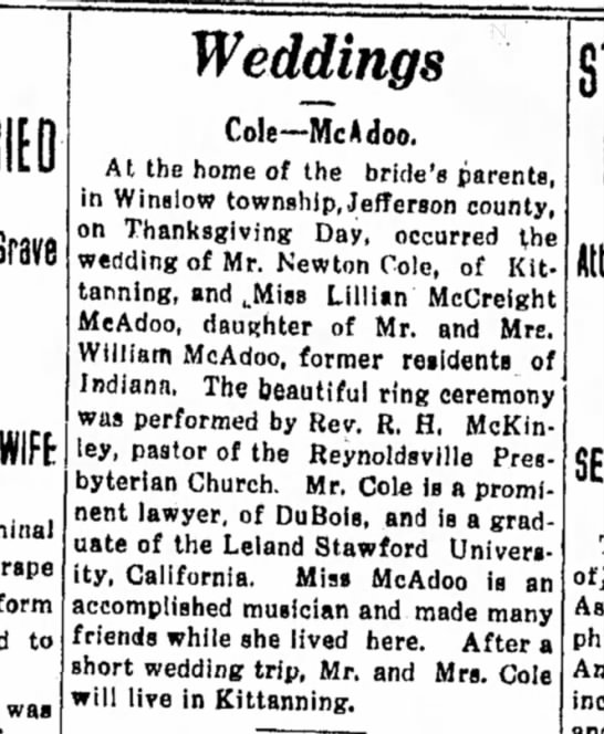 Indiana PA Evening Gazette Dec 1911 wedding lillian mc -