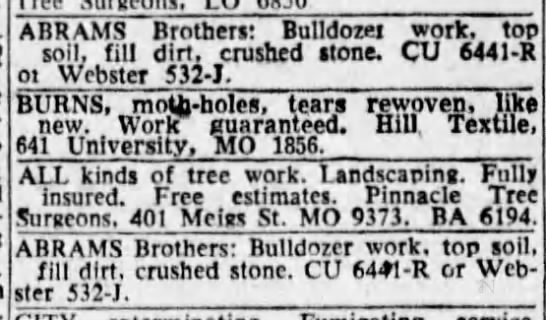 ABRAMS brothers AD, bulldozer work, top soil, fill dirt