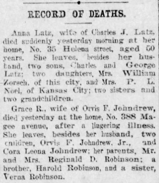 Latz, Anna wife of Charles J record of death -