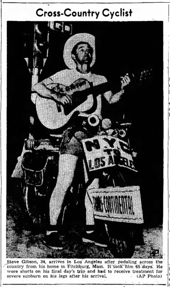 Gibson, pedaling cross-country, 13 Aug 1951, p. 1 -