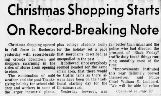 "Rochester NY uses ""Black Friday"" to refer to the day after Thanksgiving, 1964 -"