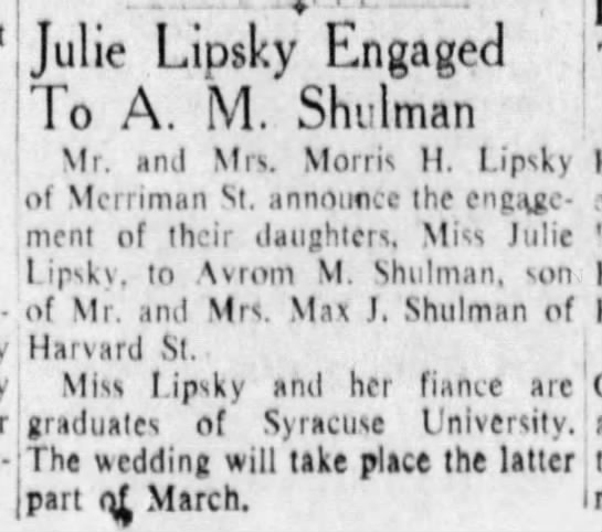 Julie Lipsky engaged 16 Feb 1952 -