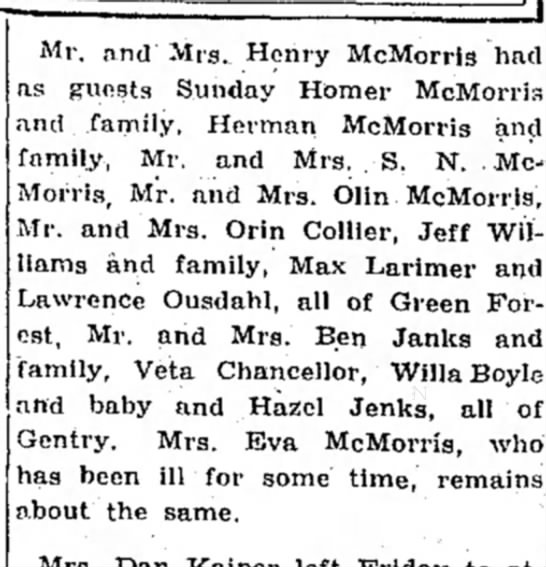 - Mr. and Mrs. Henry McMorris had as guests...