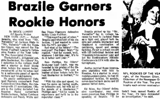 Brazile Garners Rookie Honors -