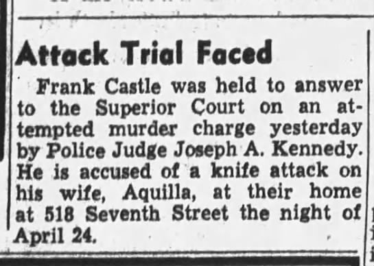 Frank Castle trial face.  6 Jun 1940, Thu, pg 17, Oakland Tribune (Oakland, CA). -