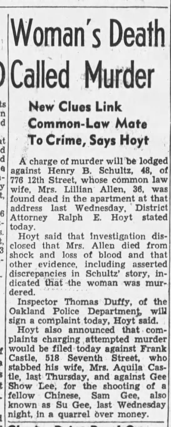 Frank Castle charged with attempted murder.  29 Apr 1940, Mon, pg 13, Oakland Tribune (Oakland, CA) -