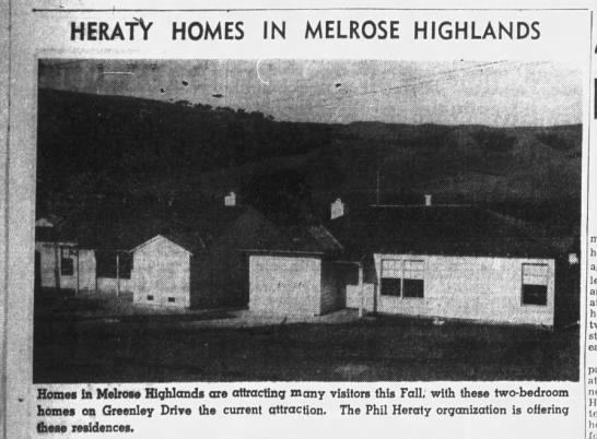 Hearty Homes in Melrose Highlands - on Greenly Drive Sep  8, 1940 -