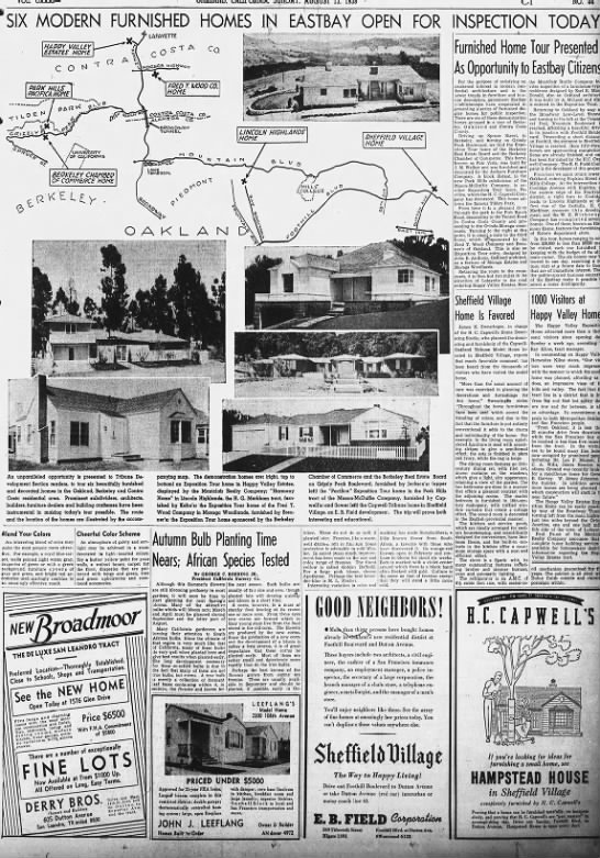 Six Modern Furnished Homes Open for Inspection - 2 in Oakland tribune aug 13, 1939 -