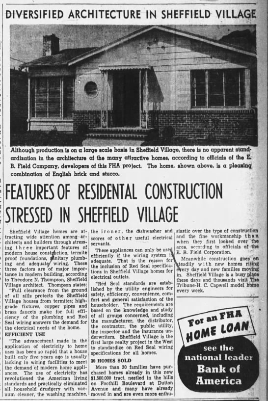 Sheffield Village  Aug 13, 1939 -