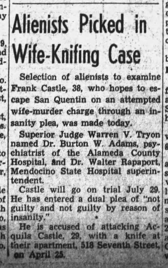Frank Castle case, 26 Jun 1940, Wed, pg 15, Oakland Tribune (Oakland, CA). -