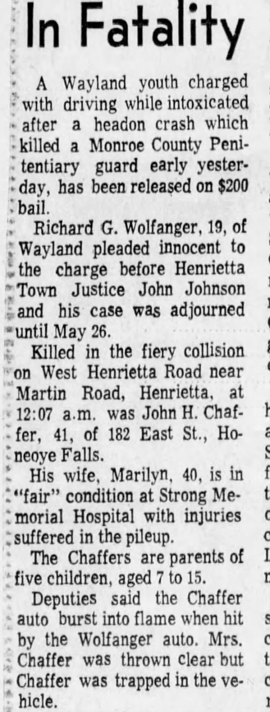 Auto Accident: John H. Chaffer - 13 May 1970 -
